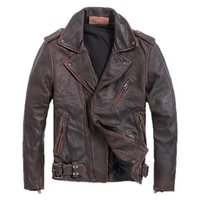 2019 Vintage Brown Men Slim Fit Biker' s Leather Jacket ...