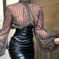 Donne Streetwear Clubwear See-through Mesh ritagliata camicetta Lanterna manica trasparente camicetta 2019 nuovi arrivi