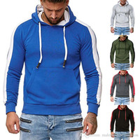 Mens Designer Hoodies Autumn Patchwork Color Long Sleeve Hooded Mens Sweatshirts Fashion Slim Mens Clothes With Pockets