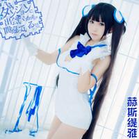 Хэллоуин Япония аниме Loli Гестия Ками Sama Косплей Костюм белый Sexy Backless платье Set Uniform (Азиатский размер)