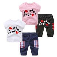 db27e3582 good quality Newborn Baby Boys Girls Clothing Set Short+Pant 2Pcs Outfit  Children's Set Letter Love Mama Papa Sets Baby Clothing Set