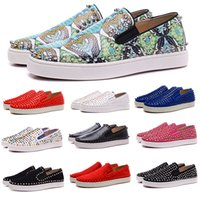 Moda Luxo Designer Red Bottoms Low Top Cut Studded Spikes Flats Shoes For Leather Men Womens Wedding Party Suede diário Sneakers Zapatos