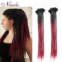 Николь 20 дюймов ручной работы Дреды вязание крючком наращивания волос Оммре цвет розовый / синий / синтетический крючком волос 5 прядей / пакет для женщин