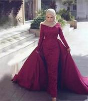 Robes de soirée avec manches de dentelle long Train détachable sexy Satin Satin Muslim Formel Toi Party Robe Porter Pareant Célébrité Robe de célébrité Bourgogne Soir Dr