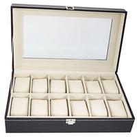 대형 12 슬롯 고급 PU 가죽 시계 상자 표시 보석 컬렉션 케이스 주최자 홀더 블랙 컬러