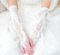 وصول جديد فوق كوع قفازات زفاف بلا أصابع قفازات زفاف مع تطبيق لباس الزفاف الأبيض الأحمر ملحقات الزفاف