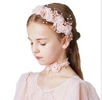 Pembe Güzel Prenses Serisi Koreli çocuk Takı Saç Halka Kolye Üç parçalı Set