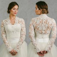 Vintage 2019 nuziale Lace Capo maniche lunghe nuziale Wrap Appliqued Giacche da sposa Capes avvolge rivestimento del bolero Abito da sposa avvolge Plus Size
