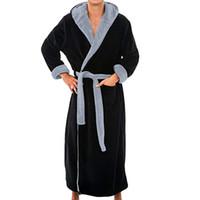 الرجال الشتاء اضافية طويلة البشكير رجل دافئ الفانيلا طويل كيمونو حمام رداء معطف الذكور البشكير ليلة الملابس ثوب المنزل الملابس # 45b