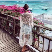 2020 Kaftan Praia Pareo Beachwear Swim terno de na Playa Pareo Praia Túnica Swimwear Mulheres Sunscreen Lace Bordados Cardigan Cover-Ups