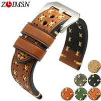 Zlimsn grosso pulseira de relógio de couro genuíno real 26mm 24mm 22mm 20mm faixa de relógio de prata relógios pulseira para panerai pulseiras de relógio t190620