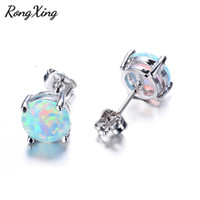 RongXing 6MM Round White Blue Purple Fire Opal Stud Earrings...