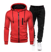 2Pcs Contrast Color Mens Designer Tracksuits Fashion Long Sl...