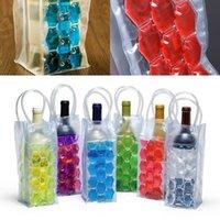 Ice Wine Cooler Bags PVC Getränke Bier Kühltasche Tragbarer Double Side Ice Weinkühler Halterträger Travel Gefrierbeutel GGA2122