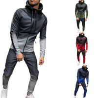 Zipper Survêtement Hommes Ensemble Sportif 2 Pièces Survêtement Hommes Vêtements Imprimé À Capuche Hoodies Veste Pantalon Survêtement Costume Taille Homme M-3XL