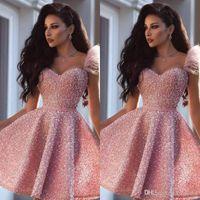 2020 moderna sexy di colore rosa del vestito da cocktail arabo di Dubai Stile ginocchio lunghezza Corti formale Club Wear di ritorno a casa del partito di promenade dell'abito Plus Size