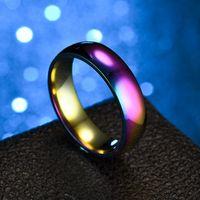 joyas al por mayor porciones mezcladas surtidos de 6 mm anillos de boda banda de acero inoxidable pulido color del arco iris de la marca nueva