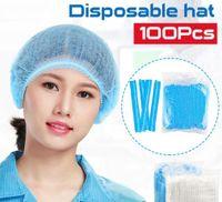 Cubierta de la cabeza desechable Sombrero anti del polvo no tejidas desechables de protección del pelo gorros de ducha salón de belleza accesorios FY4024