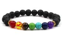 7 Chakra Bracciale Uomo nero Lava Healing Balance Beads Reiki Chakra Buddha Prayer Bracciale pietra naturale Yoga Bracciale donna 6 colori