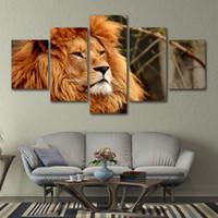 5 piezas de lienzo pintura león cabeza impresa imágenes de la pared decoración del hogar para el cartel de la sala de estar