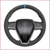 Black Suede DIY voiture Housse de volant pour Toyota Camry 2018-2019 Avalon 2019 Corolla 2019-2020 RAV4 2019