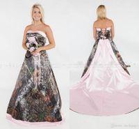 Glamoroso 2019 camo una línea vestidos de novia más tamaño formal rosa rosa corte tren tren vestido novia sin tirantes sexy encaje hacia arriba trasero vestido de novia
