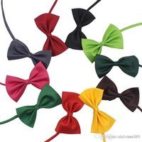 Hthome 19 colori Pet Tie Tie Cravatta Colletto Accessori Fiore Decorazione Forniture Pure Color Bowknot Cracktie IA626