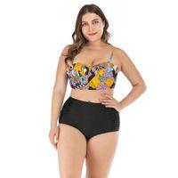 XL XXL XXXL XXXXL Artı boyutu Mayo Bikini Kadınlar Push Up Retro Baskı Tops + Siyah Alt Mayo Mayo 2020 Yeni Tankini