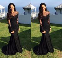 2020 árabe Black Satin Mermaid Dresses Prom Sheer mangas compridas Lace apliques de contas Plus Size formal do partido Evening vestidos de vestes de soirée