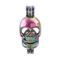 Crânio cores do arco-íris novo Chefe Pérola gaiola Pendant para Perfume Essential fazer o óleo Aroma Difusor Medalhões Colar