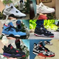 عالية الجودة 2020 ولدت أحذية كرة السلة 4S رجال مصمم 4 بالي الكباد الإضاءة المال الصرفة الملوك رمادي أسود أبيض حذاء رياضة مدرب أسمنت
