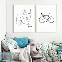 Minimalist Black White Nordic Canvas Painting Bicycle Paris ...