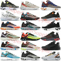 Nike air react element 87 55 Undercover 87 55 sapatos masculinos mulheres Orange Peel vela triplos pretos brancos Gravado Costuras treinadores desportivos sneakers