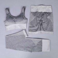 GXQIL 3 Adet Gym Kadın Spor Dikişsiz Spor Suit 2020 Yoga Seti Kadınlar Koşu Femme Spor Bra Şort Tozluklar Takımı Gri