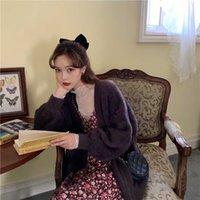 Malhas das mulheres Tees Deivor Mink V-pescoço é fina e comprida manga temperamento Cardigan camisola casaco