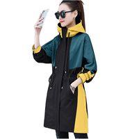 2020 Moda Ince Trençkot Kadınlar Için İlkbahar Sonbahar Kapüşonlu Kabanlar Splice Uzun Rüzgarlık Öğrenci Rahat Üst Artı Boyutu 3234