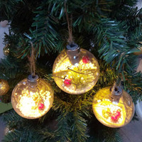 Árvore de Natal da bola transparente de incandescência do ornamento do Natal Baubles com luzes Presentes Xmas crianças para decoração de casa ZZA1567