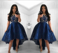 New Navy Blue Cocktailkleider 2019 Arabisch Dubai Stil High Low Lace Formale Club Wear Homecoming Prom Party Kleider Plus Größe Nach Maß