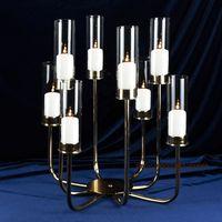 새로운 스타일 도매 아크릴 크리스탈 판매 senyu0414를 들어 8 개 무장 금속 골드 웨딩 촛대 중앙에있는 장식물