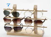 Nueva llegada Tonvic madera soporte de exhibición de cristal para gafas de sol de los vidrios 3D de joyería collar pulsera del soporte de exhibición Montaje del bastidor Fácil