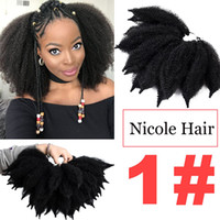 Nicole 8 pulgadas Crochet Marley trenzas Black Brown Bug Color Hair Soft Afro Twist Synthetic Braiding Extensiones de cabello Alta Temperatura Fibra