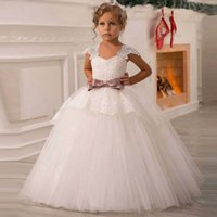 White Flower Girls Dresses Wedding Tulle Lace Long Girl Part...