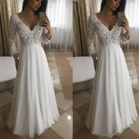 2019 Simple A Line Long Wedding Dresses Deep V Neck Lace Chi...