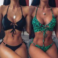 Sexy Leopard Imprimir Bikini set cintura alta preta Swimwear Mulheres oco fora maiô feminino brasileiro Bikini Banhistas maiô