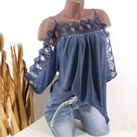 Blouses Femmes Chemises S-5XL Femmes Blouse Dentelle À Manches courtes Bandoulière froide Strappy Strappy Summer Top and Hollow Out Dames Mujer Tops