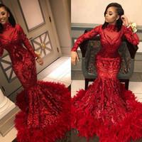 Muhteşem Pırıltılı Kırmızı Mermaid Abiye 2020 payetli Tüyler Uzun Kollu Afrika Siyah Kız Balo Elbise ile Örgün Parti Elbise