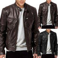 Nueva llegada de la manera de los hombres de la PU chaqueta de cuero Negro Brown Slim Fit Chaqueta de motorista manera de la capa sólida de piel con cremallera chaqueta fresca