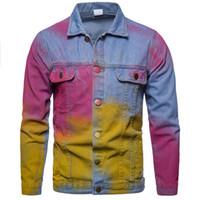 Modedesigner Denim-Jacken Herren-Mantel-beiläufige Splash Ink Cowboy Kleidung Slim Fit Bomber Jacken Herren Jean-Jacken mit Knöpfen M-XXL