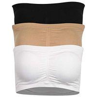 Kadın Bandeau Sütyen, Straplez Basic Katman Tüp Üst Yastıklı Dikişsiz Konfor Sutyen, 3 Renk (Beyaz / Siyah / Bej)