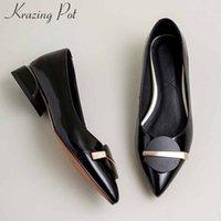 Krazing pot decorazioni di grande formato pattini di cuoio genuini di metallo scivolare sulla punta dei piedi med tacchi molla donne di modo pompe solido L06